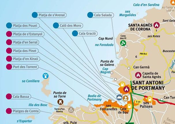 San Antonio Ibiza beaches map